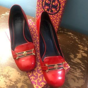 Tory Burch red heels patent shoes